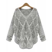 Hollow Out Long Sleeve Casual Style V-Neck Acrylic Sweater For Women
