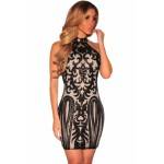 Pink Vintage Sequins Print Club Dress Black