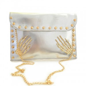 Punk Women's Clutch With Rivets and Chain Design