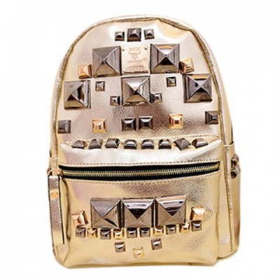 Punk Women's Satchel With Rivets and PU Leather Design