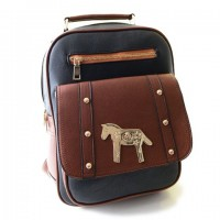 Retro Women's Satchel With Color Block and Pony Design