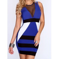 See-Through Design Color Block Sleeveless Round Collar Packet Buttock Dress For Women