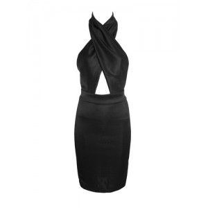 Sexy Halter Neck Sleeveless Hollow Out Solid Color Dress For Women