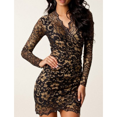 Sexy Lace Jacquard Plunging Neck Long Sleeve Bodycon Slimming Sheath Dress For Women