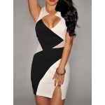 Sexy Plunging Neck Sleeveless Color Block Bodycon Dress For Women