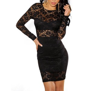 Sexy Round Collar Long Sleeve Lace Hollow Out Bodycon Dress For Women