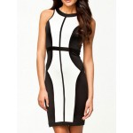 Sexy Round Collar Sleeveless Color Block Bodycon Stretchy Dress For Women