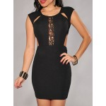 Sexy Scoop Neck Sleeveless Lace Hollow Out Bodycon Dress For Women