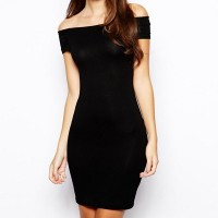 Sexy Slash Neck Strapless Bodycon Stretchy Hollow Out Dress For Women