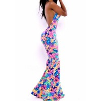 Sexy Style Off The Shoulder Sleeveless Backless Floral Print Mermaid Dress For Women