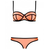 Sexy Women's Color Block Halter Underwire Bikini Set