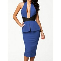 Sexy Women's Halter Color Block Peplum Bodycon Dress