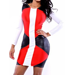 Sexy Women's Jewel Neck Long Sleeve Color Block Dress
