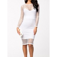 Sexy Women's Jewel Neck Long Sleeve Openwork Bodycon Dress