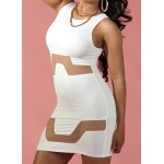Sexy Women's Jewel Neck Mesh Splicing Sleeveless Bodycon White Dress