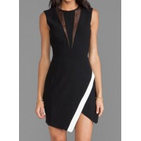 Sexy Women's Round Neck Color Block Mesh Splicing Sleeveless Dress