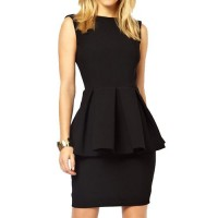Sexy Women's Round Neck Sleeveless Backless Peplum Dress