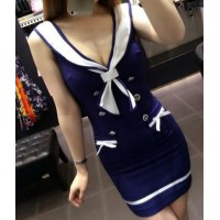Sexy Women's Sailor Collar Sleeveless Bodycon Dress