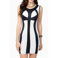 Sexy Women's Scoop Neck Color Block Bodycon Dress