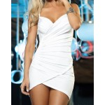 Sexy Women's Solid Color Spaghetti Strap Wrapround Dress