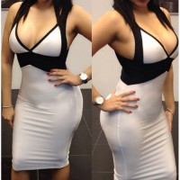 Sexy Women's Spaghetti Strap Color Block Bodycon Dress