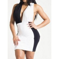 Sexy Women's V-Neck Color Block Halter Dress