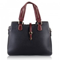 Simple Style Women's Tote Bag With Color Block and PU Leather Design