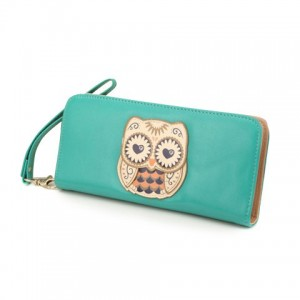Simple Women's Clutch Wallet With Owl and Zipper Design
