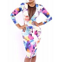 Slimming Scoop Neck Printed Voile Splicing Long Sleeve Dress For Women