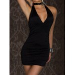 Solid Color Backless Bodycon Sexy Style Halter Sleeveless Women's Dress