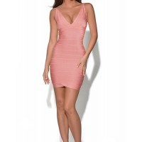 Solid Color Tempting V-Neck Sleeveless Slimming Bandage Dress For Women