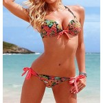Stylish Halter Neck Floral Print Bikini Set For Women