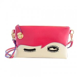 Stylish Women's Clutch With Color Block and Eye Design