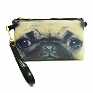 Stylish Women's Clutch With Dog Print and Zip Design