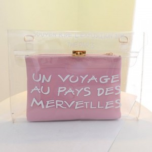 Stylish Women's Clutch With Letter Print and Transparent Design