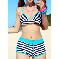 Stylish Women's Halter Striped Two-Piece Swimsuit