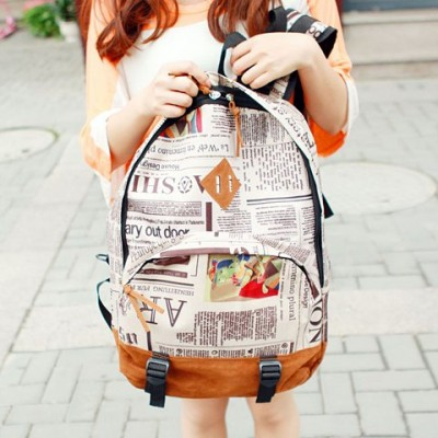 Stylish Women's Satchel With Zip and Newspaper Design