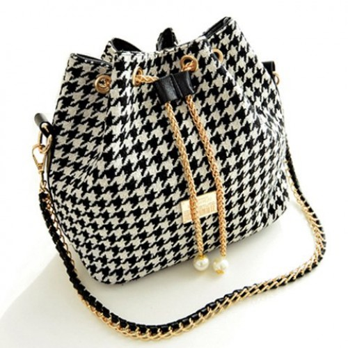 Stylish Women s Shoulder Bag With Houndstooth and Chains Design ...
