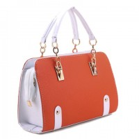 Stylish Women's Tote Bag With Color Block and Chain Design