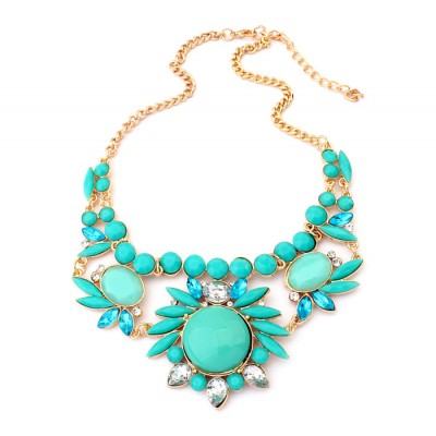 Sweet Colored Flower Embellished Alloy Necklace For Women