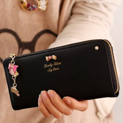 Sweet Women's Clutch Wallet With Bow and Pendant Design