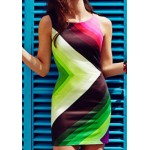 Trendy Sleeveless Round Collar Color Block Pullover Dress For Women