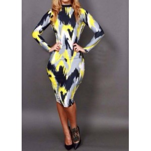 Trendy Style Round Collar Long Sleeve Print Backless Bodycon Dress For Women