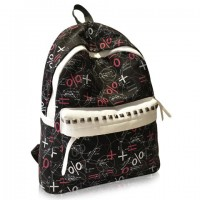 Trendy Women's Satchel With Print and Rivets Design