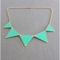 Vivid Colored Glazed Triangle Pendant Alloy Sweater Chain Necklace For Women