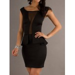 Voile Splicing Packet Buttock Sexy Style Slash Neck Sleeveless Women's Bodycon Dress