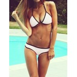 Alluring Halter Backless Push-Up Design Bikini Swimwear For Women White