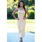 Apricot Strapless Party Midi Dress
