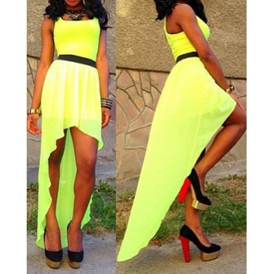 Asymmetrical Hem Sleeveless Scoop Neck Solid Color Dress For Women yellow