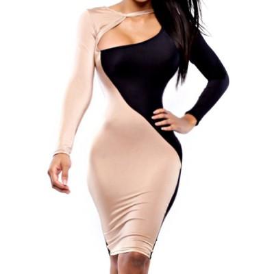 Bare Neck Design Long Sleeve Round Collar Color Block Dress For Women black tan